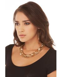 AKIRA Metallic Braided Snake Chain Necklace W/ Snake Chain Earring Set