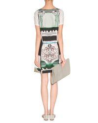 Mary Katrantzou Multicolor Cream-black multi Silk Satin Botanist Shift Dress