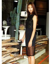 Rejina Pyo - Black Silk Organza Panelled Cocktail Dress - Lyst