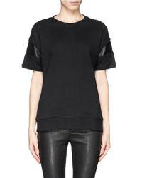 Rag & Bone Black 'lira' Leather Insert Short Sleeve Sweatshirt