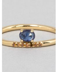 Mociun | Blue Stacked Sapphire Ring Gold | Lyst