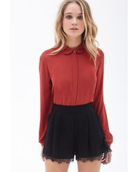 Forever 21 - Red Peter Pan Collar Blouse - Lyst