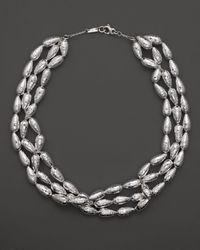 "Ippolita White Sterling Silver Glamazon® Medium Raindrop Bead Three Strand Necklace, 21"""