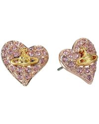 Vivienne Westwood | Metallic Tiny Diamante Heart Studs | Lyst