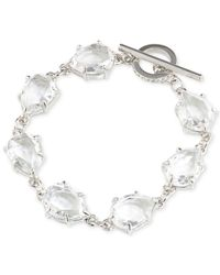 Carolee | White Silver-tone Crystal Toggle Bracelet | Lyst