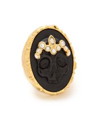 Alexis Bittar Skull Cameo Crown Ring - Black/Gold