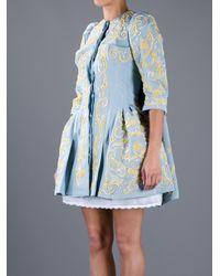 Meadham Kirchhoff Blue Madonna Ottoman Dress Coat