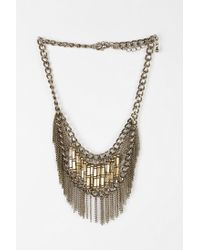 Urban Outfitters - Metallic Beaded Fringe Statement Necklace - Lyst