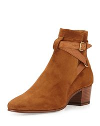 Saint Laurent - Brown Blake Suede Belted Bootie - Lyst