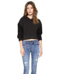 Pam & Gela Crop Hoodie With Quilted Velour Sleeves - Black