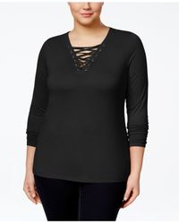 INC International Concepts - Black Plus Size Lace-up Top, Only At Macy's - Lyst