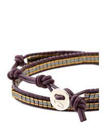 Colana Metallic Leather Wrap Bracelet With Gold Hematite
