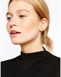 ASOS - Metallic Rose Gold Plated Sterling Silver Triangle Spike Through Earrings - Lyst