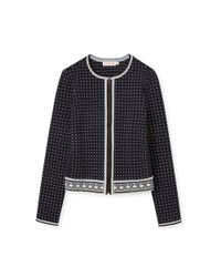 Tory Burch - Blue Zip Front Dot Cardigan - Lyst
