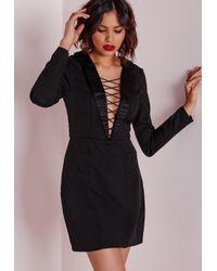 Missguided | Crepe Lattice Front Blazer Dress Black | Lyst