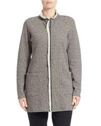 Eileen Fisher Gray Fleece Sweater Jacket