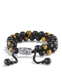 David Yurman | Metallic Spiritual Beads Two-row Bracelet With Black Onyx & Tiger's Eye for Men | Lyst