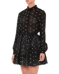 Marco De Vincenzo - Black Flower-embellished Cotton Mini Skirt - Lyst