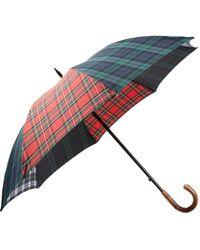 Barneys New York Red Tartan Stick Umbrella