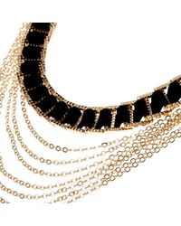 River Island | Gold Tone Black Woven Chain Necklace | Lyst