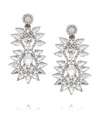 Kenneth Jay Lane | Metallic Silver-Plated Crystal Clip Earrings | Lyst