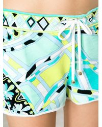 Emilio Pucci Green Pattern Print Beach Shorts