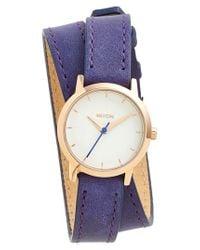Nixon - Blue 'the Kenzi' Wrap Leather Strap Watch - Lyst