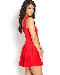Forever 21 Red V-Cut Fit & Flare Dress