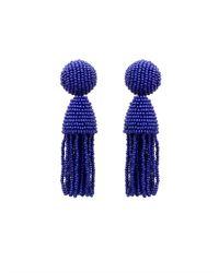 Oscar de la Renta Purple Two-tiered Beaded Tassel Clip-on Earrings