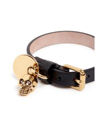 Alexander McQueen | Black Skull Charm Wrap Leather Bracelet | Lyst