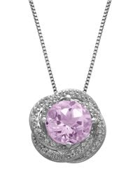 Lord & Taylor - Purple Sterling Silver Pink Amethyst And White Topaz Pendant Necklace - Lyst