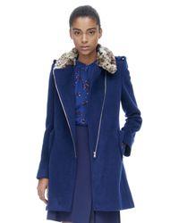 Rebecca Taylor | Blue Leopard Collar Wool Coat | Lyst