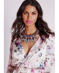 Missguided - Statement Chain Crystal Drop Necklace Blue - Lyst