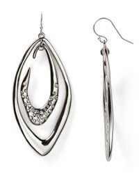 Alexis Bittar Metallic Crystal Encrusted Asymmetrical Orbiting Link Earrings