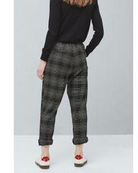Mango Black Check Trousers