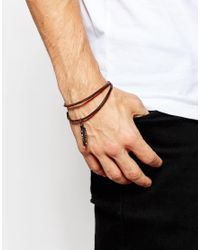 ASOS | Anklet With Feather In Brown Leather for Men | Lyst