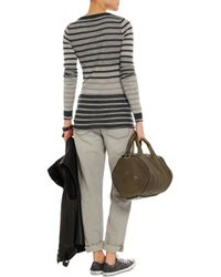 Enza Costa - Gray Striped Cashmere Sweater - Lyst