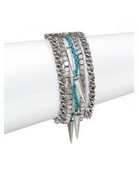 Rebecca Minkoff - Metallic Multi-Strand Chain & Bead Bracelet - Lyst