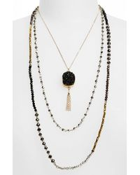 Panacea | Metallic Layered Pendant Necklace - Jet | Lyst