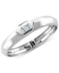 Vince Camuto | Metallic Silver-tone Chevron Stone Hinge Bangle Bracelet | Lyst