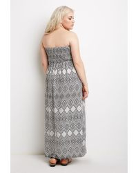 Forever 21 - Black Plus Size Strapless Diamond Print Dress - Lyst