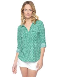 Splendid | Green Plume Print Shirt | Lyst