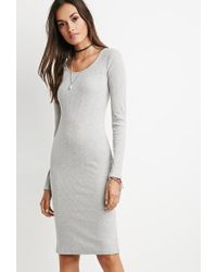 Forever 21 | Gray Ribbed Midi Dress | Lyst
