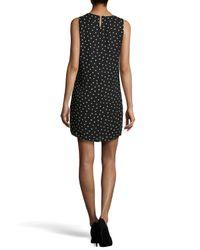 Halston - Black Polka-dot Draped Shift Dress - Lyst