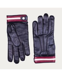 Bally Blue Nappa Leather Gloves Men's Leather Gloves In Black for men