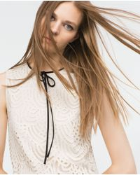Zara | White Guipure Lace Top | Lyst