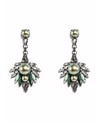 Ellen Conde - Iridescent Green Pearl And Crystal Earrings - Lyst