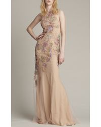 Monique Lhuillier Natural Embroidered Sleeveless Halter Gown