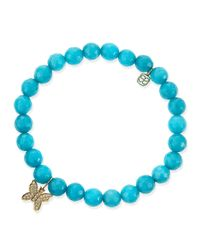 Sydney Evan | Blue 8Mm Faceted Peacock Jade Beaded Bracelet With 14K Gold/Diamond Butterfly Charm | Lyst