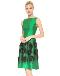 Lela Rose Green Cocktail Dress with Embroidered Skirt Emeraldivory